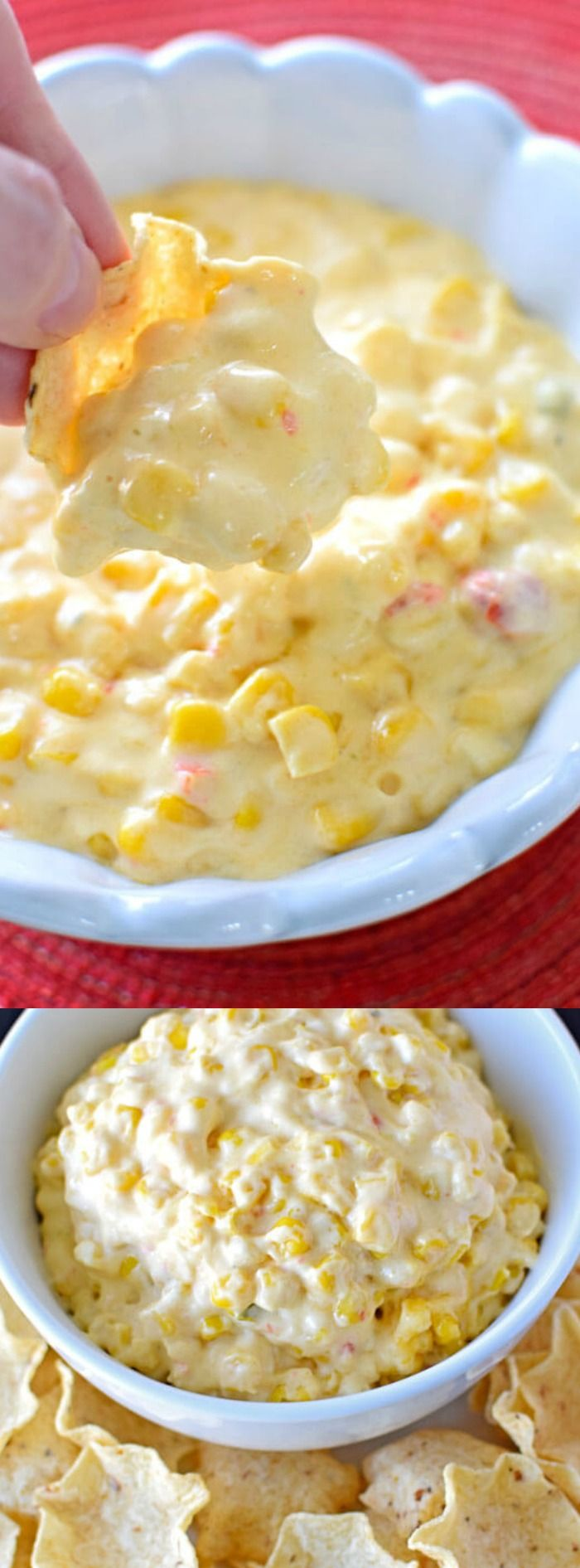 This Mexican style Corn Dip recipe from Homemade Hooplah is so incredibly good and comes together in just 15 minutes.