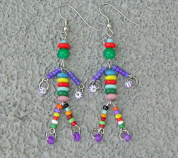 Multi color bright little man friend beaded by SusanRodebushArts, $12.00