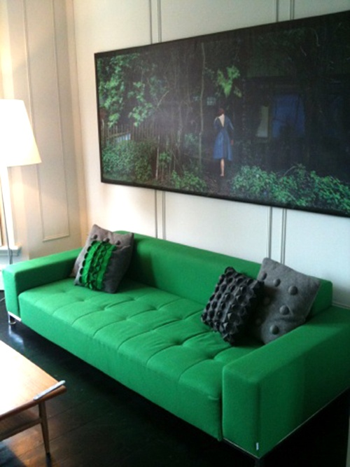 large green low sofa, via Pinterest