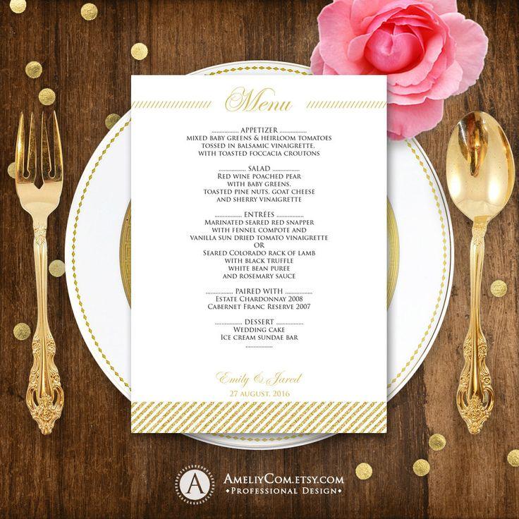 online editable wedding invitation templates%0A Printable Wedding Menu EDITABLE Glam Gold  Instant download PDF file  DIY  Menu Cards for