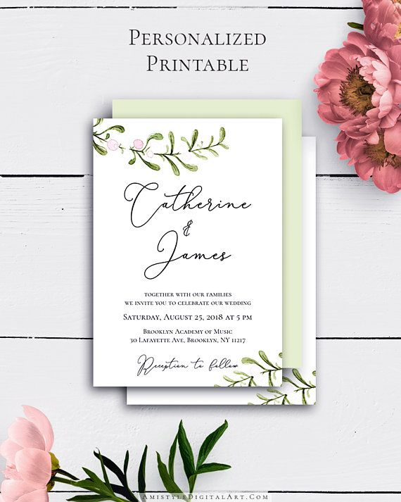 Personalized Wedding Invitation with nice and charming watercolor greenery graphics in rustic wedding style by Amistyle Digital Art on Etsy