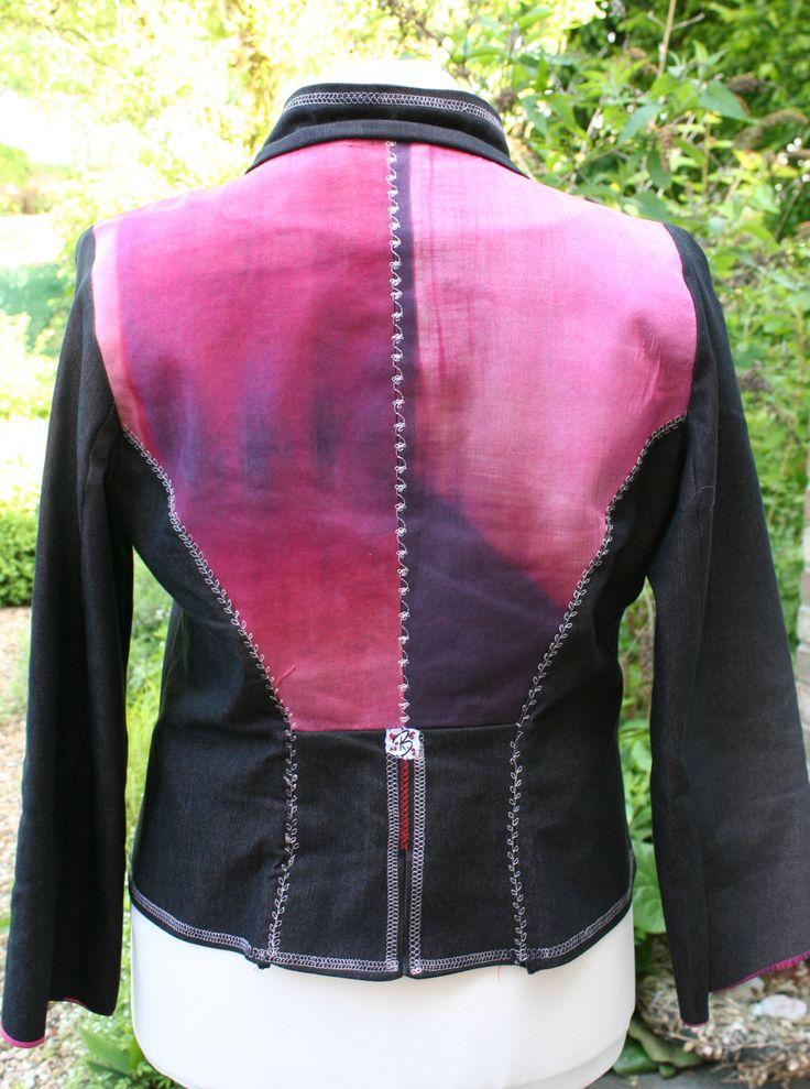 Jeansjacke 2012 Rückenteil gedoppelt mit Seidenstoff
