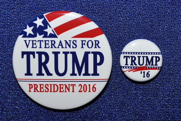 Donald Trump Veterans for Trump President 2016 TWO BUTTONS GOP Republican