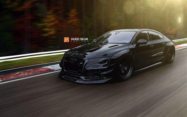 Download wallpapers tuning, Audi RS7 Sportback, supercars, road, black rs7, Audi