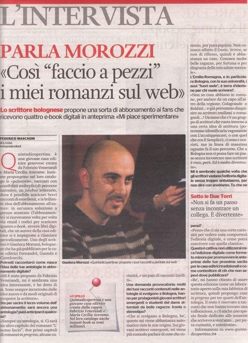 Gianluca Morozzi racconta l'Abbonamento allo scrittore su L'Unità - Emilia Romagna del 10 luglio 2011