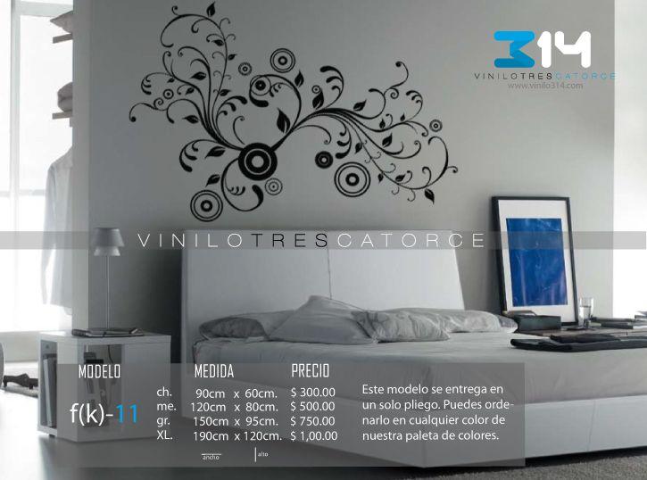 Vinilo 3 14 vinilos decorativos florales flor for Calcomanias para dormitorios