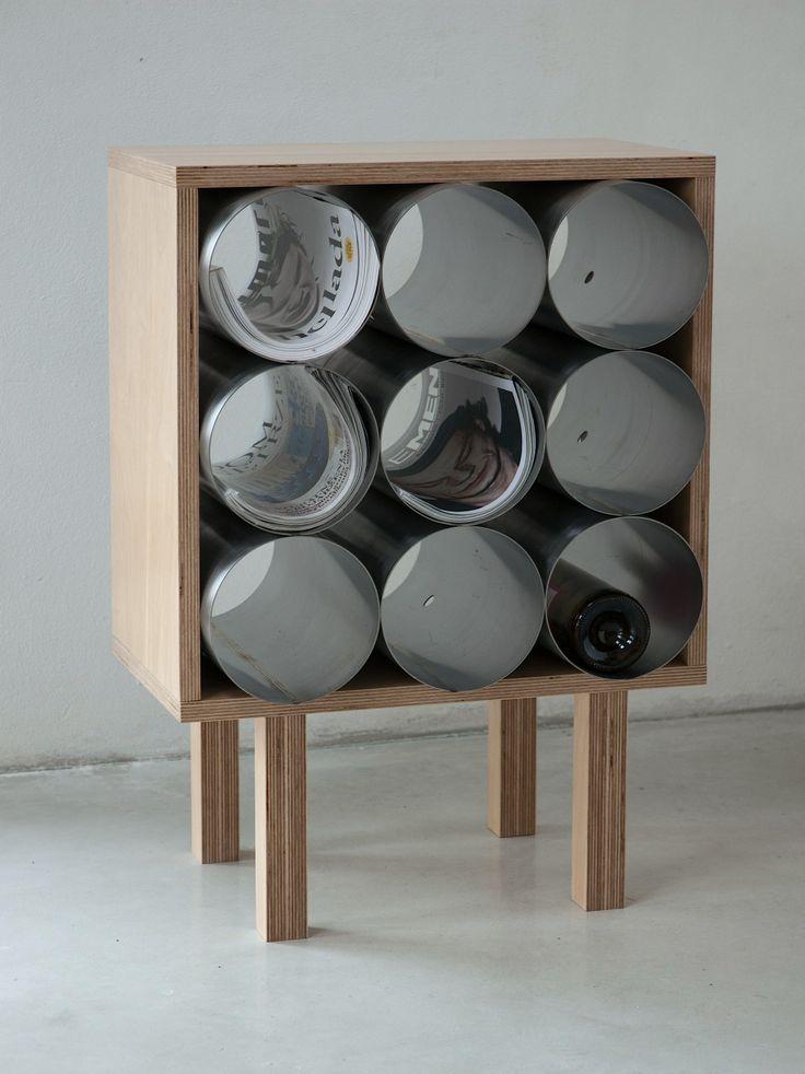 Upcycled design: wine rack, magazin rack, made of steel pipes, Nanowo Design,