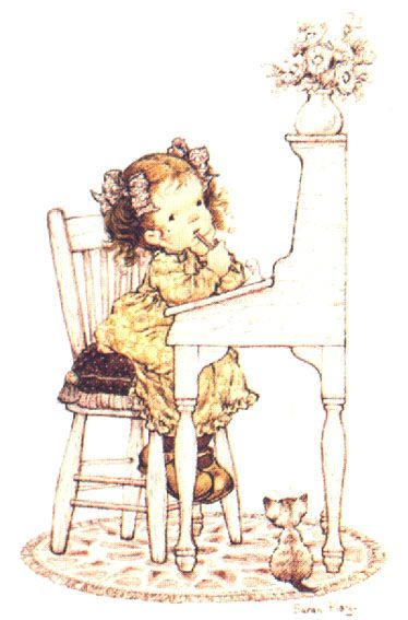 By Sarah Kay.  I can see me being like this as a kid. :)  Except probably without the pretty outfit, or the nice desk, and I wanted a cat but didn't have one.  The pencil, though--sure, that was probably there.  And the wavy hair, just without the coordinating bows.
