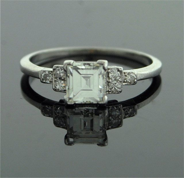 Antique Engagement Ring - Asscher Cut Diamond in Platinum Setting.