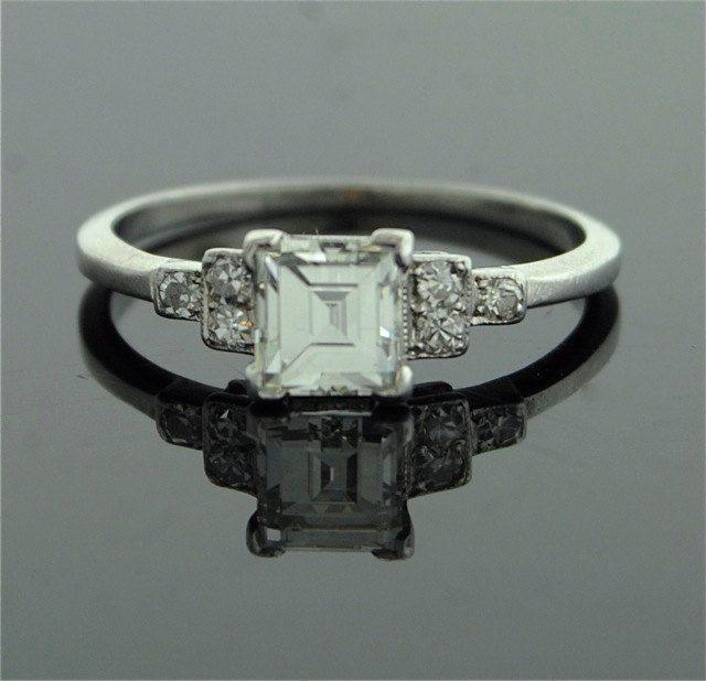 Antique Engagement Ring - Asscher Cut Diamond in Platinum ...