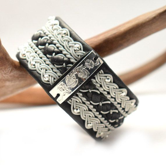 Swedish Sami Bracelet of pewter thread with 4 % by SundesignSweden