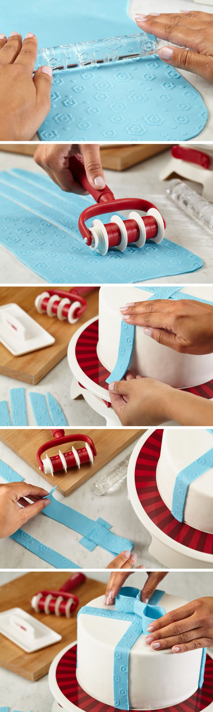 Apply a thin layer of frosting to your cake prior to covering with rolled fondant; this will help the fondant stick. Then, use this fondant smoother to help you easily apply the fondant to the cake while getting rid of wrinkles and puffed areas. Quickly cut strips or trim excess rolled fondant from covered cake bases with a fondant cutter. Visit your local Michaels store or Michaels.com to inspire your inner Cake Boss.