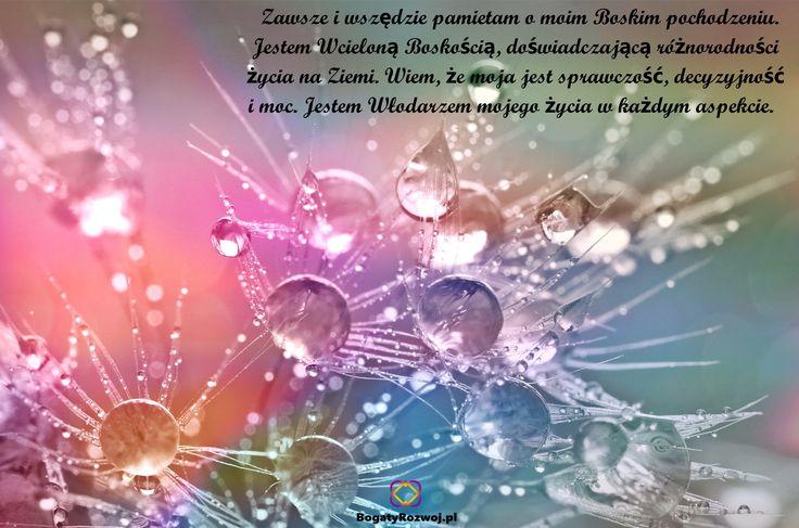 Zawsze i wszędzie pamiętam o swoim Boskim pochodzeniu. Jestem Wcieloną Boskością, doświadczającą różnorodności życia na Ziemi. Wiem, że moja jest sprawczość, decyzyjność i moc.Jestem Włodarzem mojego życia w każdym aspekcie.#bogatyrozwoj #afirmacje #swiadomosc #nowaenergia #rozwojduchowy