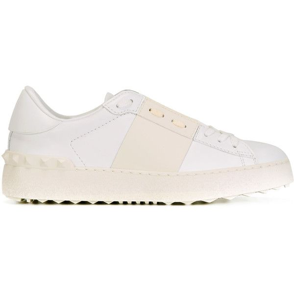 Valentino Garavani Open sneakers ($695) ❤ liked on Polyvore featuring shoes, sneakers, white, lacing sneakers, white shoes, decorating shoes, round toe sneakers and valentino trainers