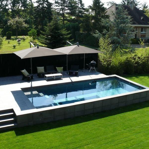 Création d'une piscine en béton hors-sol à Montfort-l'Amaury (78)