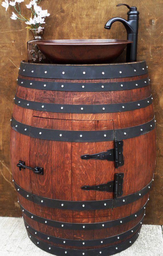 DON MOI Rustikaler halber Weinfass Waschbecken Eitelkeit, OPTIONAL gehämmertes Kupfer Waschbecken und Wasserhahn Add-on SS110MCR