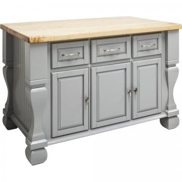 "Tuscan Kitchen Island 52-5/8"" x 32-3/8"" x 35-1/4"" in Grey. By Hardware Resources"