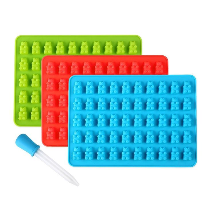 Born Baker Blue/Red/Green Silicone Gummy Bear Molds with Dropper (Pack of 3) (4 piece Silicone Gummy Bear Mold Set), Size 8 x 8