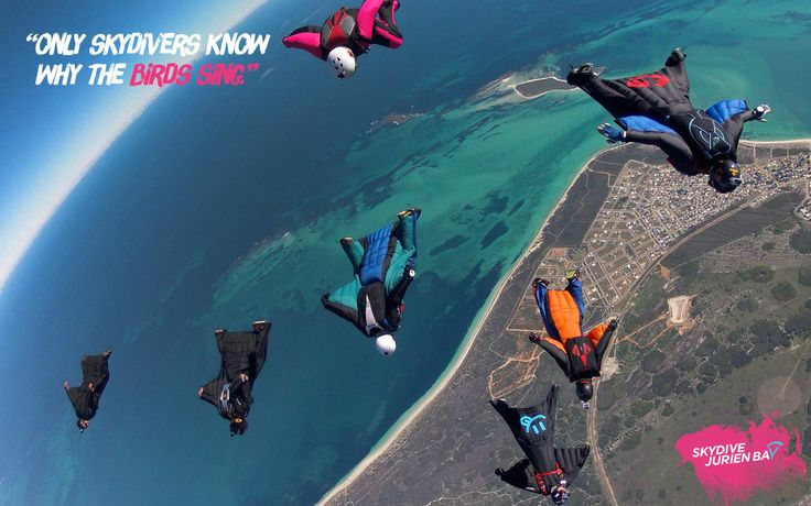 Inspirational desktop wallpaper. Skydive Jurien Bay. Perth, Western Australia. Wingsuiters flocking over Jurien Bay.