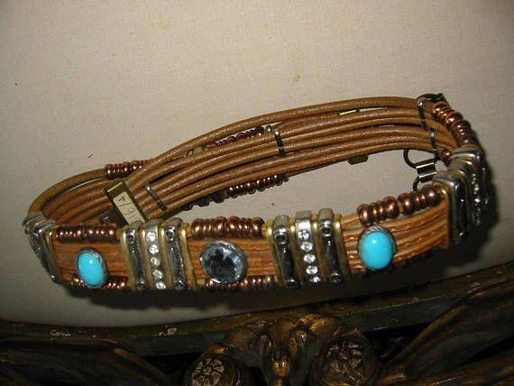 Tribal Tan Leather Belt Cabocons Turquoise Metal Rhinestones