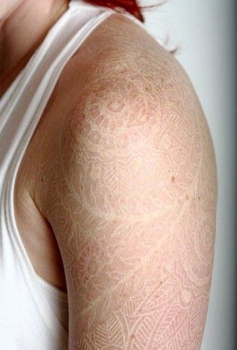 White Lace Tattoo Shoulder Piece