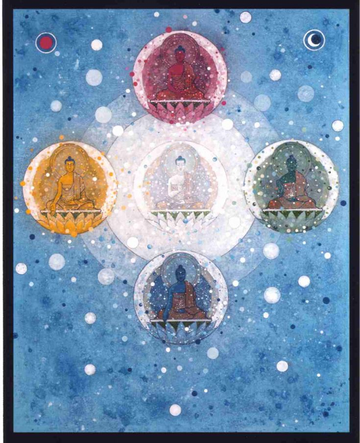Five Buddha Mandala by Aloka. Follow a Rainy Season retreat online - teachings and blogs from Bristol Buddhist Centre in the UK on the Brahma Viharas... March 13th-21st!  Email us your own mandala pictures to be featured on Instagram! pictures@thebuddhistcentre.com