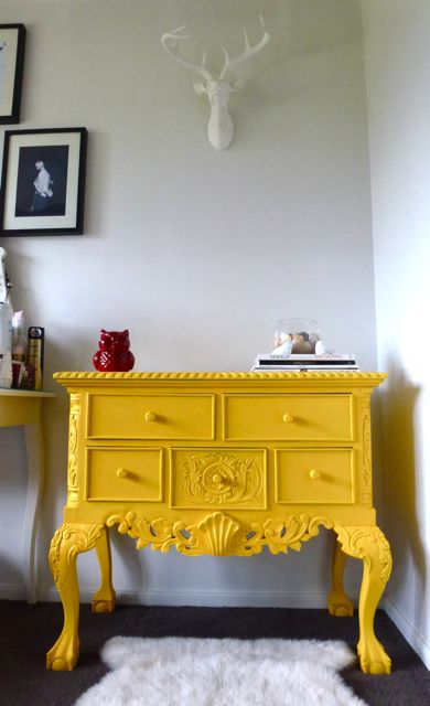 Love this yellow painted ornate dresser table