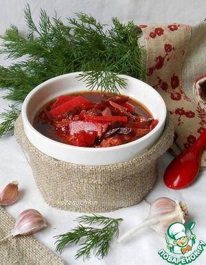 """Суп со свеклой и солеными огурцами.... Ингредиенты для """"Суп со свеклой и солеными огурцами"""": Бульон (или вода) — 2,5 л Свекла — 2 шт Огурец соленый (2-3) — 2 шт Лук репчатый — 1 шт Морковь — 1 шт Картофель — 4 шт Рассол — 200 мл Масло растительное — 2 ст. л. Чеснок — 4 зуб. Перец черный Соль"""