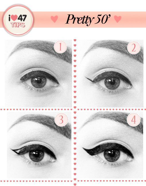 '50s eyeliner for an open, classic look