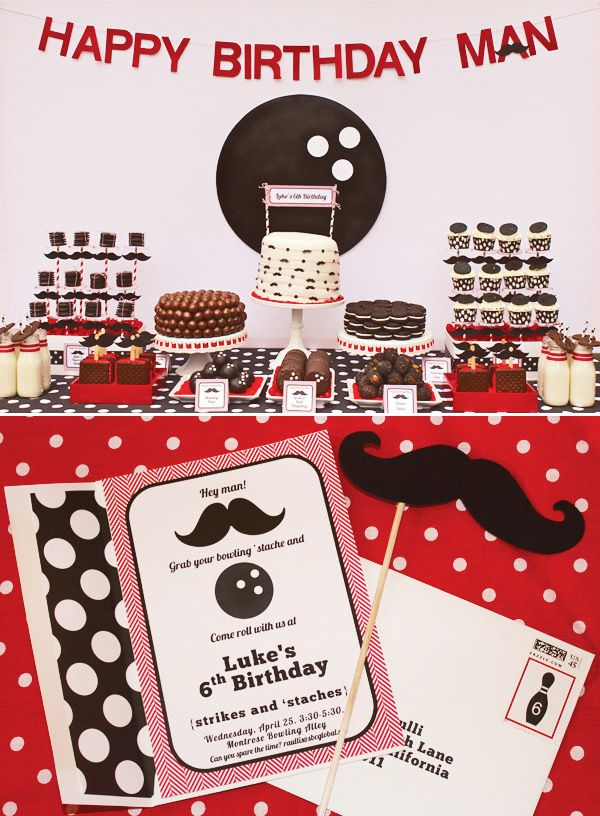 Bowling Party Decor with invite... this is too funny!: Bowls Parties Theme, Mustache Parties, Bowls Birthday, Birthday Parties, Boys Birthday, Parties Ideas, Bowling Party Themes, Birthday Ideas, Stach Bowls