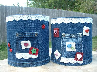 Gone Crafting!: COFFEE CANS AND OLD BLUE JEANS