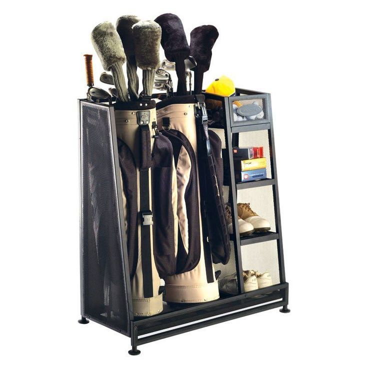 Golf Caddy Organizer Storage Rack Metal Unit Shelves Bag Stand Clubs Bags Balls