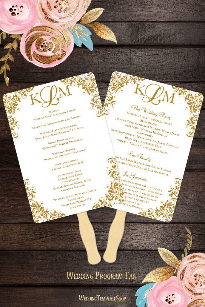 free templates for wedding response cards%0A Wedding Program Fan Kaitlyn Gold Monogram
