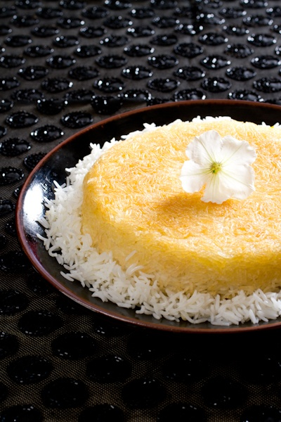 Persian Food great tadik, the crispy part of the bottom of the rice pan with basmati rice