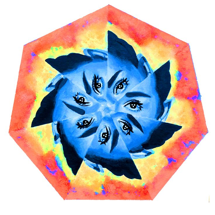 Bright eyes like a flower, Nikolina Ivanovic, Acrylic on paper and digital edit, a4, 2016