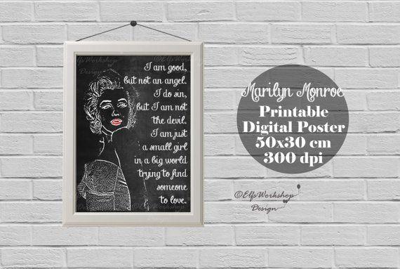 Marilyn Monroe poster, Blackboard poster Marylin Monroe, Marilyn Monroe printable poster, Home Decor, Quote print, Marilyn Monroe Decor