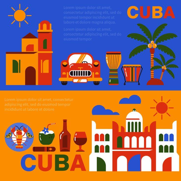 Набор туристических баннеров Путешествие по Кубе.