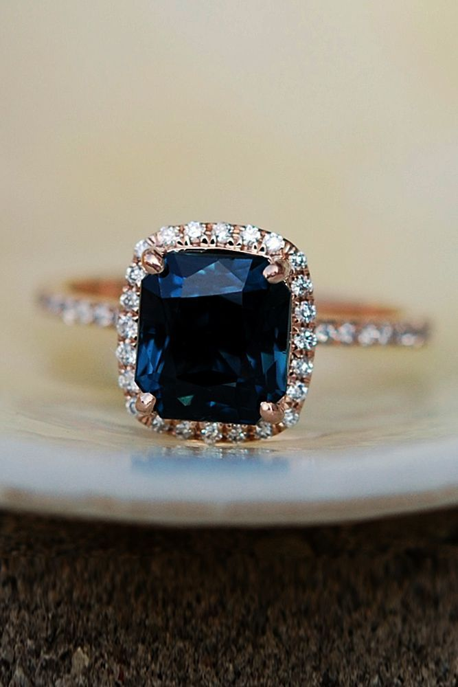 Eidel Precious Sapphire Engagement Rings ❤️ Eidel Precious engagement rings sapphire cushion cut halo pave band ❤️ See more: http://www.weddingforward.com/eidel-precious-engagement-rings/ #weddingforward #wedding #bride