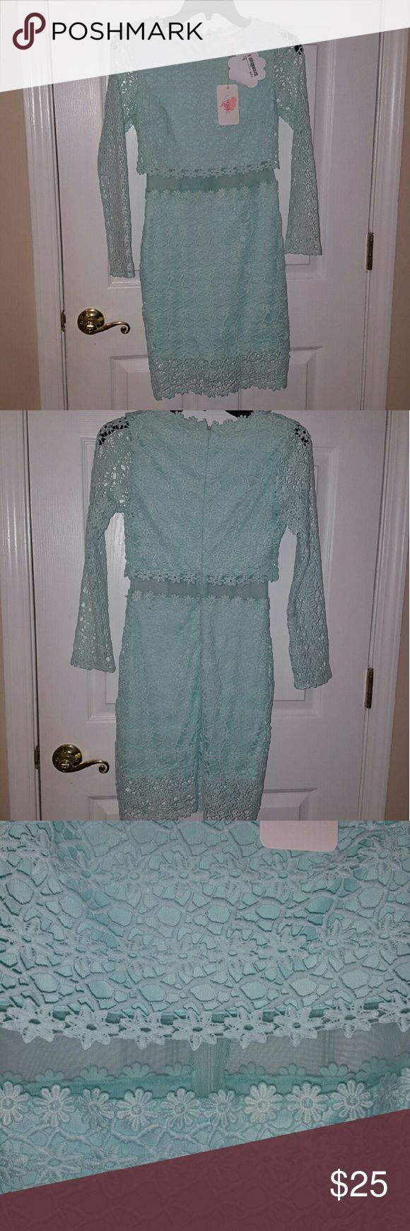 Dress Mint green, crochet, mint green, mesh middle (see picture), Shop Hope's, BNWT, super cute, long sleeve, Juniors small. L'atiste  (Shop Hopes) Dresses Mini