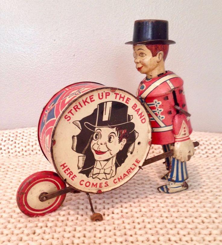 Marx tin litho Charlie McCarthy the Drummer Boy windup toy