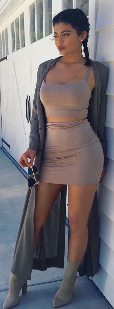 Kylie Jenner in Shirt and skirt – Naked Wardrobe  Shoes – Yeezy                                                                                                                                                                                 More