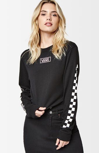 Take your cool and casual style to the next level in the Long Sleeve Cropped T-Shirt by Vans. This PacSun exclusive tee features long sleeves, logo graphic at the chest and back, checkered graphic at the sleeves, crew neckline, an edgy raw cut hemline, and a cropped fit.    Crew neckline  Long sleeves  Graphic at the chest, back, and sleeves  Raw cut hemline  Model is wearing a small  Machine washable