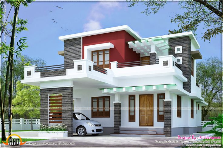 Free double storey house plans flat roof google search for Flat roof elevation