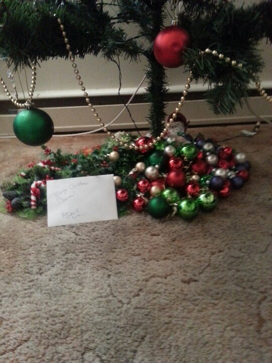 Covered by tree stand with left over ornaments.