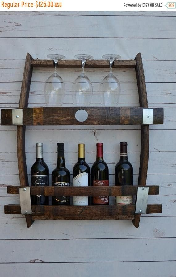 Wine Bottle Wine Rack With Glass Holder Etsy Wine Rack Wall Wine Rack Glass Holder Wine Barrel Furniture