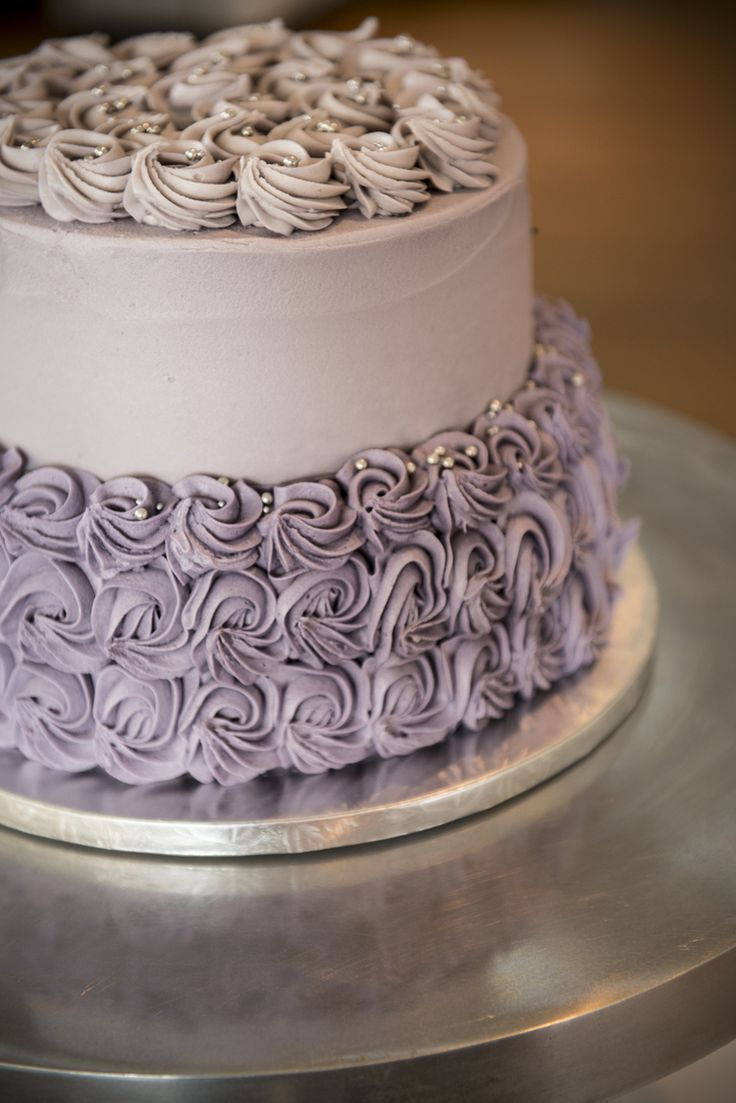 Two Tiered Wedding Cake with Rosette Detail - Bluebells Cakery Wedding Cake