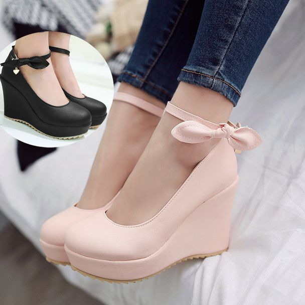 Sweet princess wedges heeled shoes