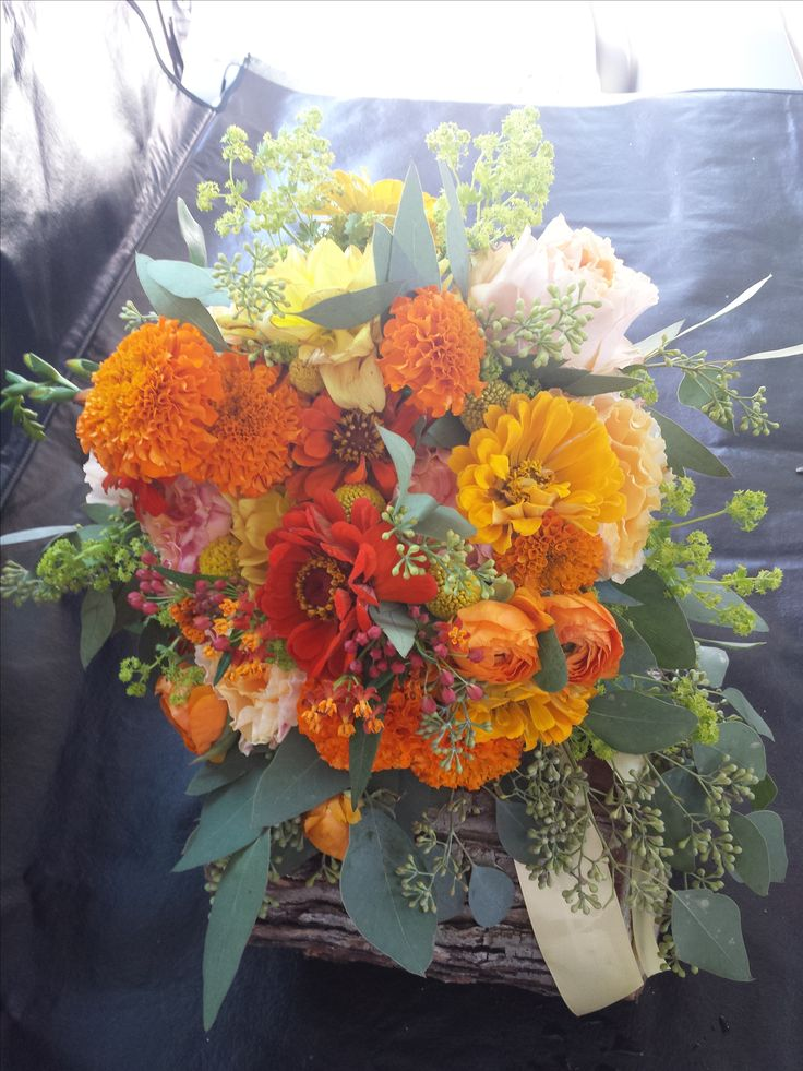 Rustic Marigold and Zinnia Bridal Bouquet