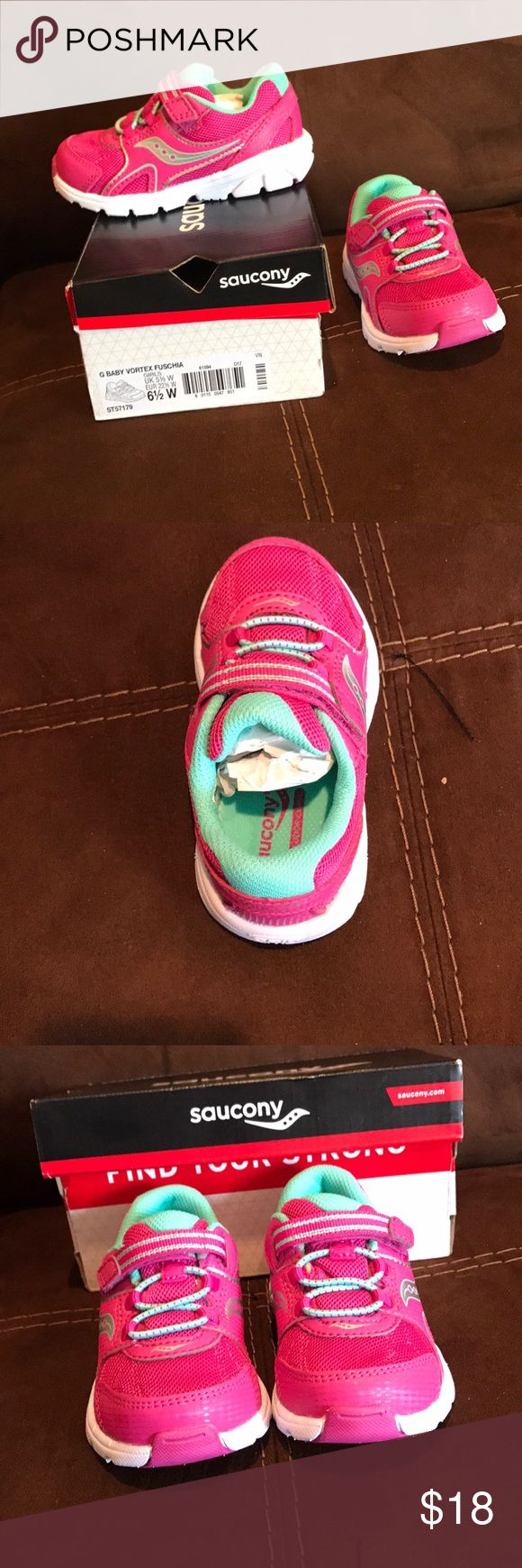 Saucony *NEW* Little Kids Sneaker - Size 6.5 W Baby Vortex Fuschia Saucony - Great sneakers for toddler girls. I bought 2 sizes and never returned the one that didn't fit. They are light weight and great sneakers!  Size- 6.5 Little Kids WIDE Saucony Shoes Sneakers