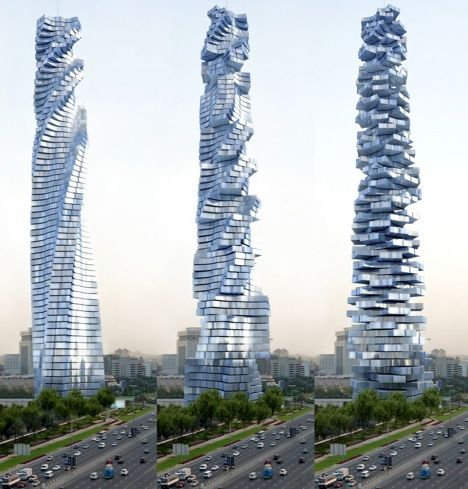 The Dynamic Tower (also known as Da Vinci Tower) in Dubai. Uniquely, each floor will be able to rotate independently. This will result in a constantly changing shape of the tower. Mind-blowing...THIS IS A MUST SEE